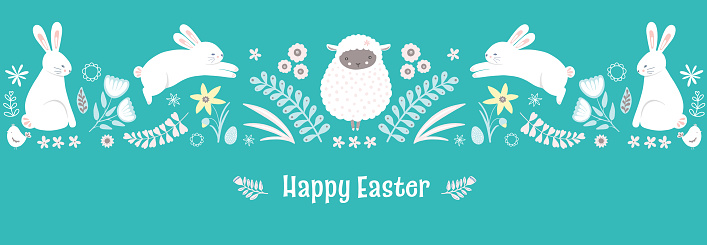 Easter pattern. Cute Springtime holiday border design of bunnies and flowers, vector banner illustration.