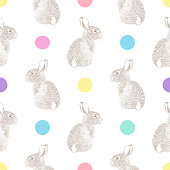Easter Pattern with Bunny Pen and Ink Vector Seamless Pattern