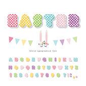 Easter plaid font. Colorful textile alphabet. Cute decorative 3d ABC letters and numbers. Vector illustration