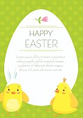 Easter holiday greeting postcard with cute little chickens cartoons. Free space for text message. Vector illustration.