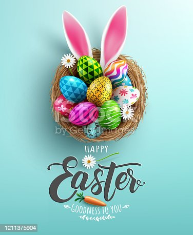istock Easter poster and banner template with Easter eggs in the nest on light green background.Greetings and presents for Easter Day in flat lay styling.Promotion and shopping template for Easter 1211375904