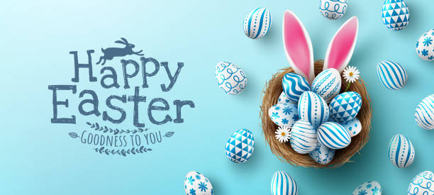 Easter poster and banner template with Easter eggs in the nest on light blue background.Greetings and presents for Easter Day in flat lay styling.Promotion and shopping template for Easter vector art illustration