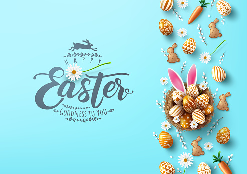 Easter poster and banner template with Easter eggs in the nest with bunny ear on light blue background.Greetings and presents for Easter Day.Promotion and shopping template for Easter