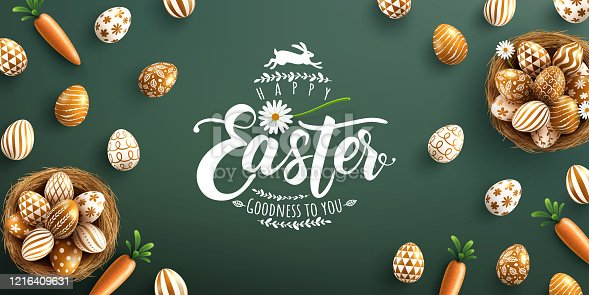 Easter poster and banner template with golden Easter eggs in the nest on green background.Greetings and presents for Easter Day in flat lay styling.Promotion and shopping template for Easter