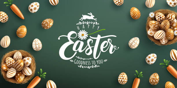 Easter poster and banner template with golden Easter eggs in the nest on green background.Greetings and presents for Easter Day in flat lay styling.Promotion and shopping template for Easter vector art illustration