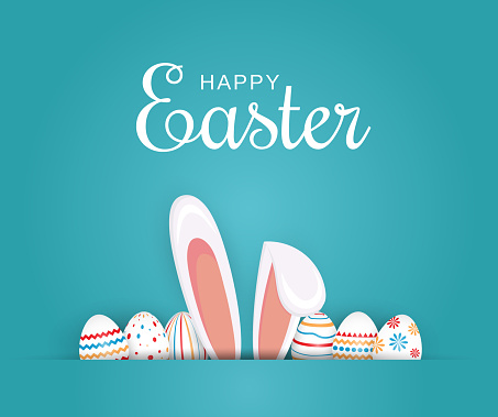 Easter poster, background or card with eggs and bunny ears. Vector illustration.