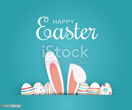 Easter poster, background or card with eggs and bunny ears. Vector illustration. EPS10