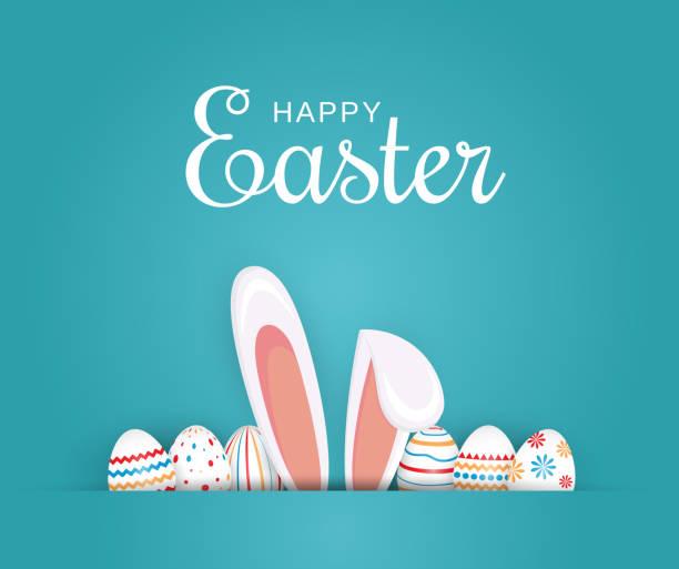 부활절 포스터, 배경 또는 계란과 토끼 귀와 카드. 벡터 일러스트입니다. - 부활절 달걀 stock illustrations