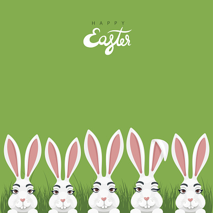Easter poster design with bunny characters.