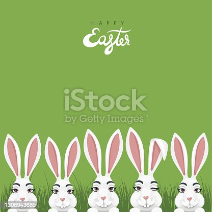 istock Easter poster design with bunny characters. 1308943685