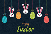 Easter - poster with hanging decoration and greetings. Vector.