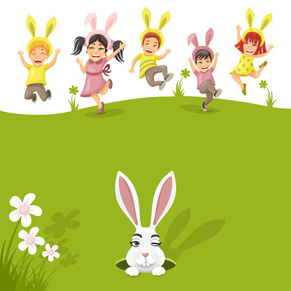 Easter poster with rabbit and kids.