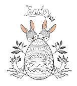easter poster with two easter bunnies behind of easter egg with floral decoration in monochrome silhouette vector illustration