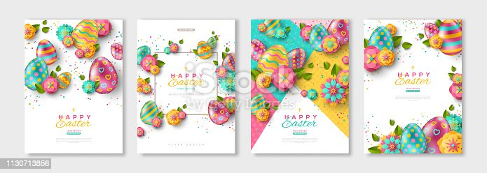 Easter posters or flyers design set with colorful eggs and spring flowers. Vector illustration. Place for your text