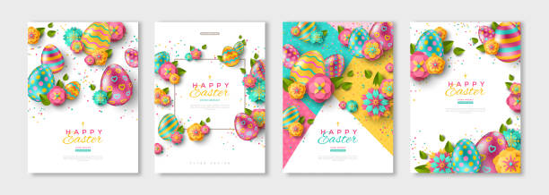 Easter posters or flyers set Easter posters or flyers design set with colorful eggs and spring flowers. Vector illustration. Place for your text easter stock illustrations