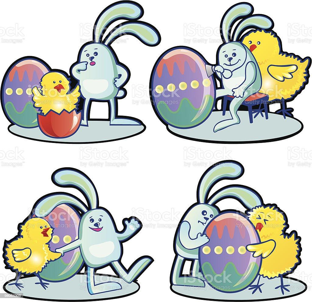 Pollo e coniglio di Pasqua pollo e coniglio di pasqua - immagini vettoriali stock e altre immagini di animale royalty-free