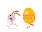 Easter Rabbit and Eggs. Funny Easter Bunny. A set of cute emotional characters for a Christian holiday. Elements for festive design - 6. Vector illustration