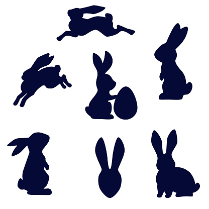 Easter rabbit black silhouette vector isolated on white background