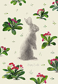 Easter Rabbit Blossom Primrose In Stipple Effect. An original artwork vector illustration. This inspirational design can be a postcard, invitation, web banner, shop window, poster or flyer.