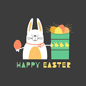 Easter day rabbit bunny, eggs in box. Happy christian sunday holiday poster. Fancy hand drawn letters. Comic cute retro cartoon. Colorful egg stmbol. Decorative fun greeting card. Vector illustration