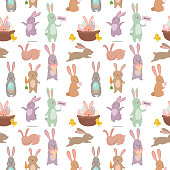 Easter rabbit character bunny seamless pattern background vector cute happy animal illustration. Cartoon spring traditional greeting graphic.