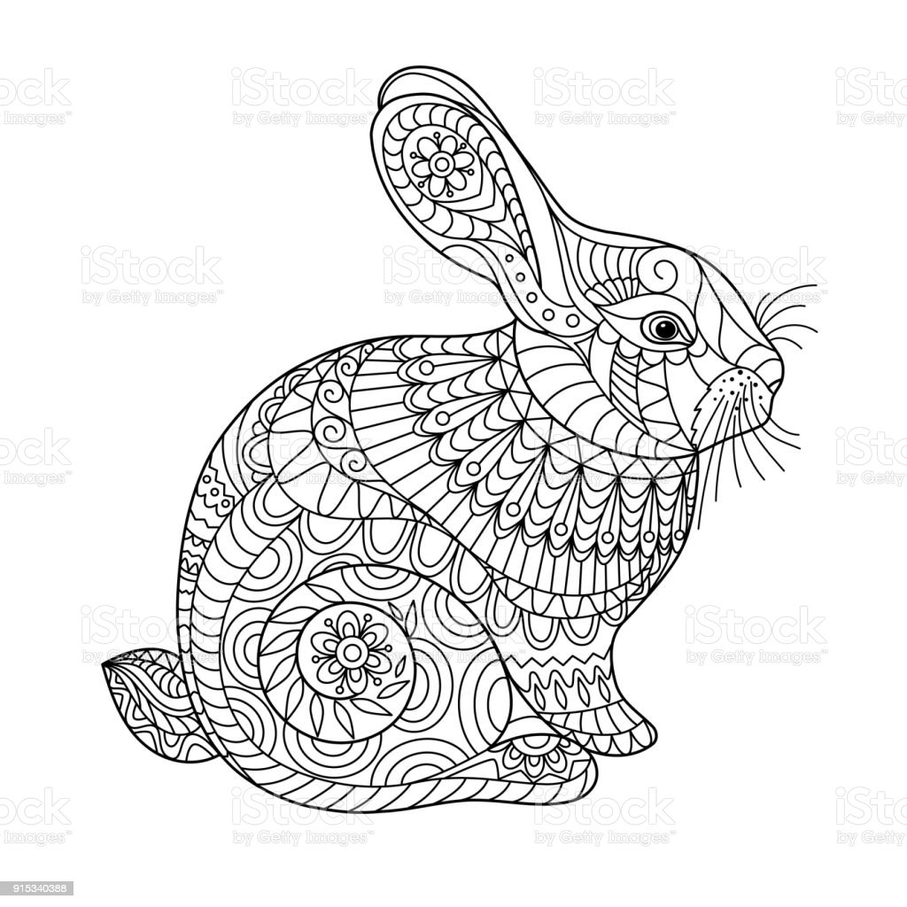 Easter Rabbit Coloring Page For Adult And Children Stock