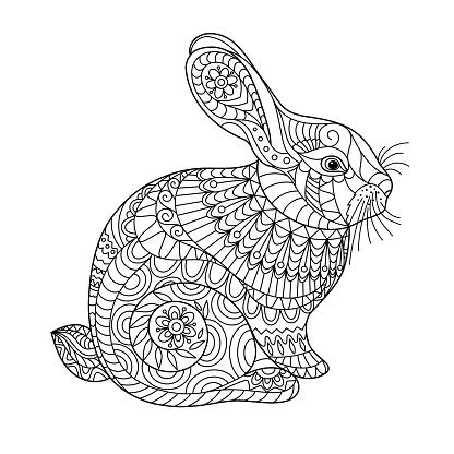 pasen konijn kleurplaat pagina voor volwassenen en