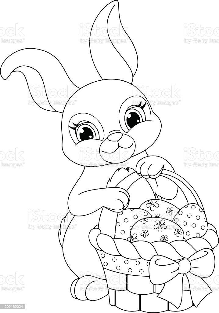 Ilustración de Página Para Colorear De Conejo De Pascua y más banco ...