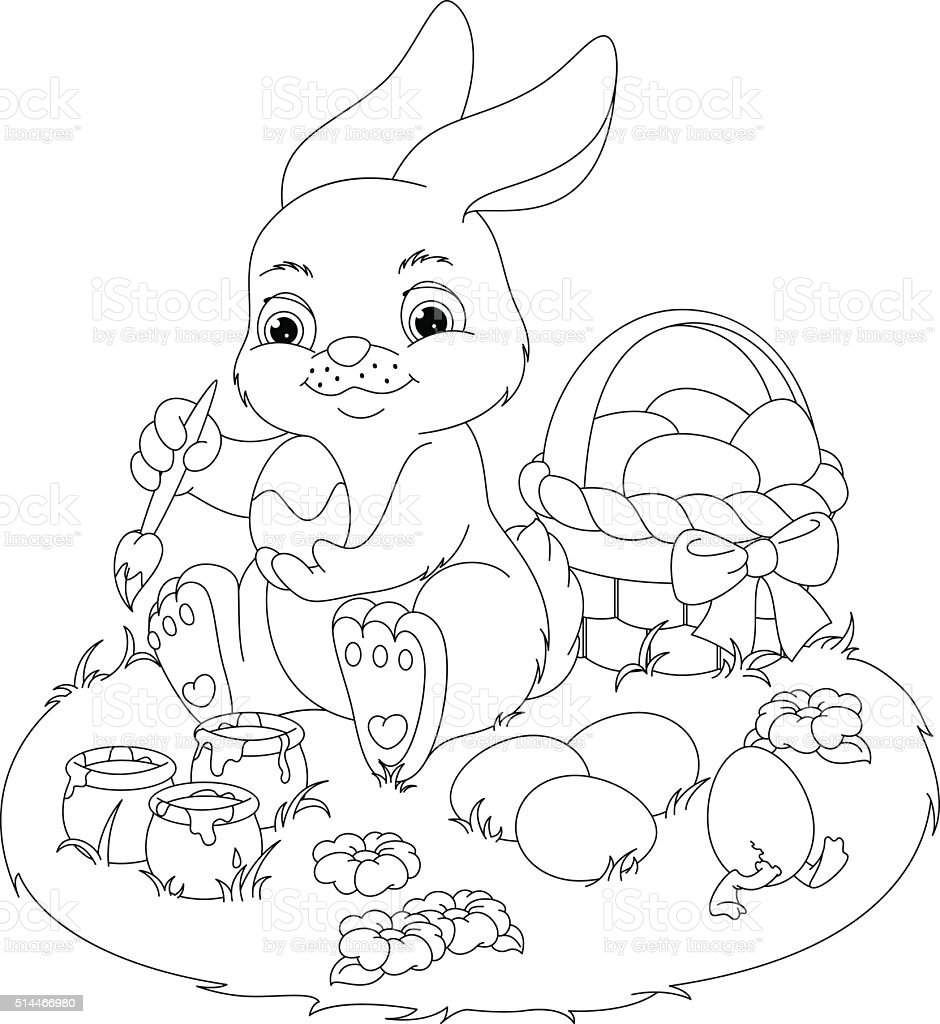 Easter rabbit coloring page illustration
