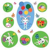 Easter Rabbit, Egg and Easter Symbols. RGB, EPS 10.