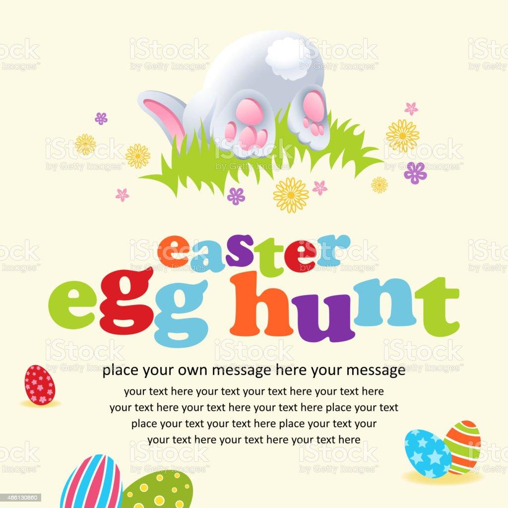 Easter Rabbit Hiding Notice vector art illustration