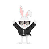 Easter rabbit with rock and roll hand sign in leather jacket with black sunglasses isolated on white background, illustration.