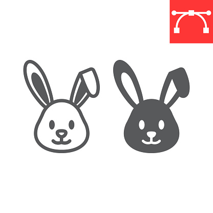 Easter rabbit line and glyph icon, funny and holiday, easter bunny vector icon, vector graphics, editable stroke outline sign, eps 10.