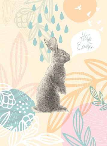 Easter Rabbit On Floral Pattern Happy Easter Message