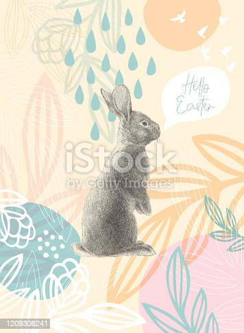 Easter Rabbit On Floral Pattern Happy Easter Message. An original artwork vector illustration with typography. This inspirational design can be a postcard, web banner, shop window, invitation, poster or flyer.