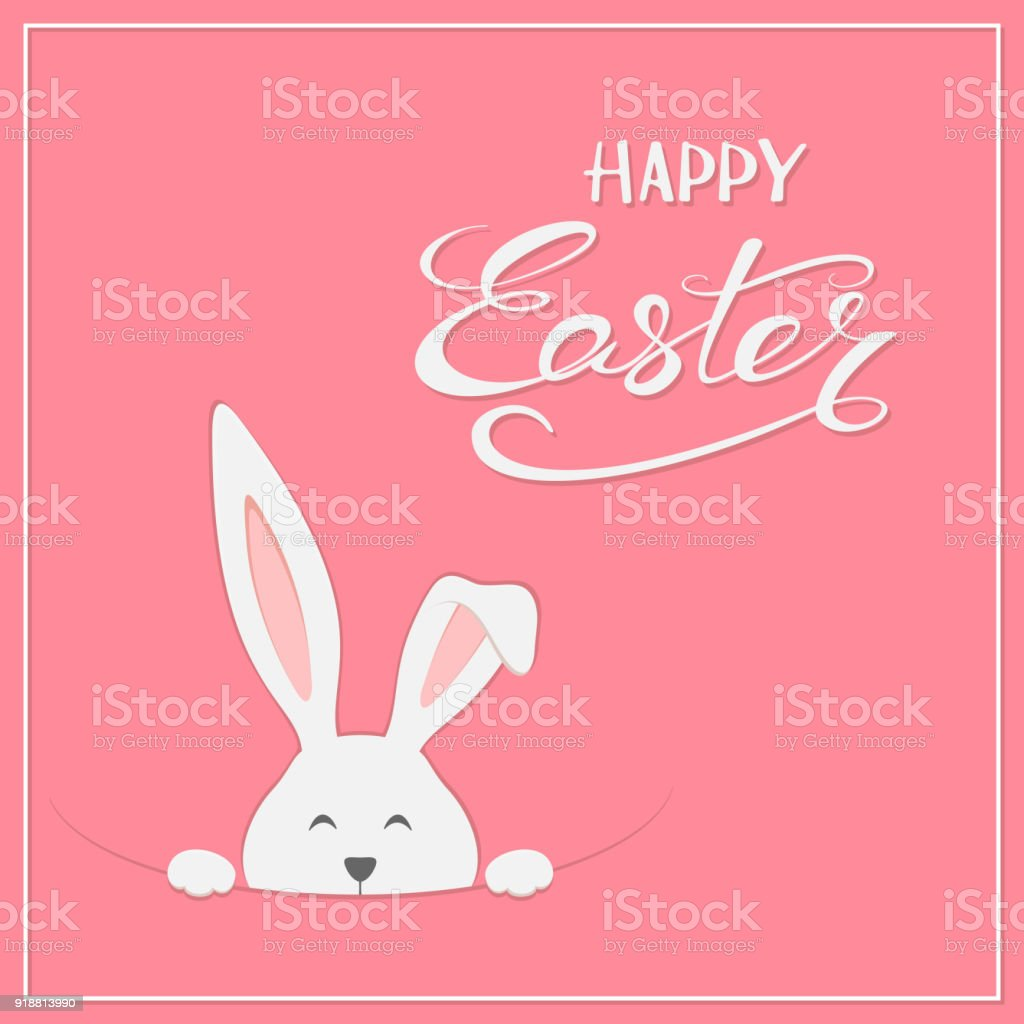 Easter rabbit on pink background