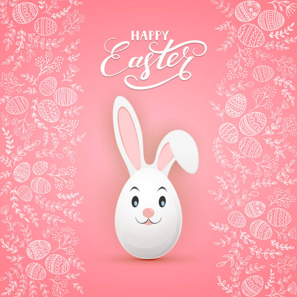 Easter rabbit on pink background with floral elements and eggs vector art illustration