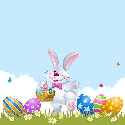 Easter Rabbit Palying Easter Egg Hunt