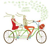 Vector illustration with cute Easter rabbits on tandem bicycle with gift egg in basket. Holiday illustration for your design.