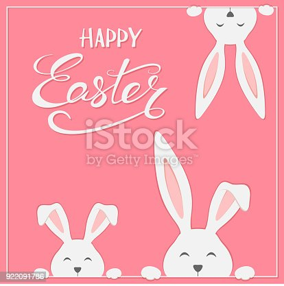 istock Easter rabbits on pink background 922091786