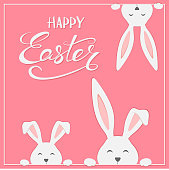 Cute Easter rabbits with lettering Happy Easter on pink background, illustration.