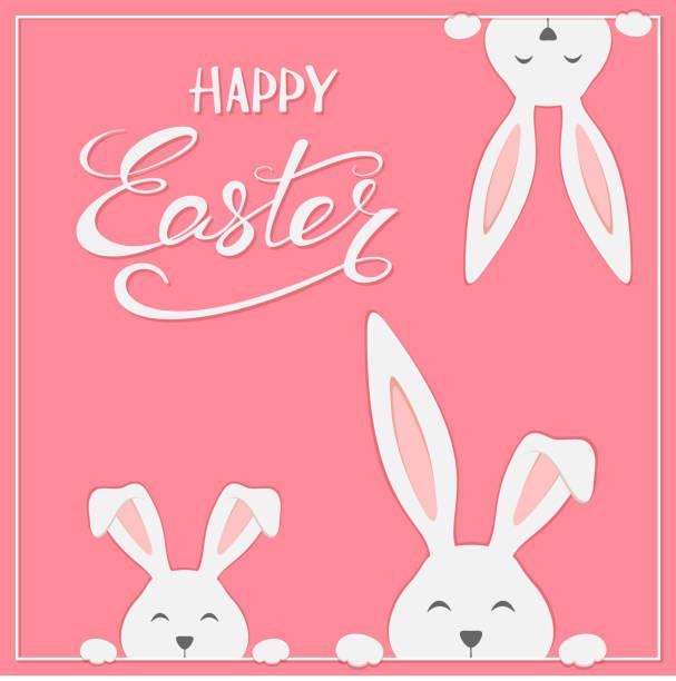 osterhasen auf rosa hintergrund - kaninchen stock-grafiken, -clipart, -cartoons und -symbole