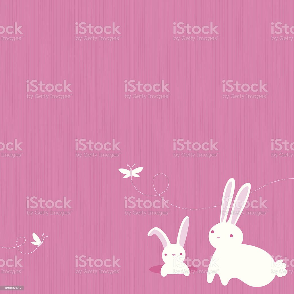 Easter rabbits vector art illustration