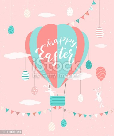 Cute rabbits with Easter eggs, pennants and hot air balloon on pink background. Lettering Happy Easter. Illustration in flat cartoon style can be used for holiday design, poster, banner, greeting card