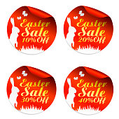 Easter red sale stickers set 10%, 20%, 30%, 40% off with rabbit. Vector illustration