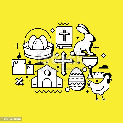 istock Easter Related Line Design Style Web Banner 1307631396