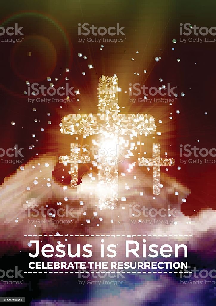 Easter religious poster template with transparency, gradient mesh vector art illustration