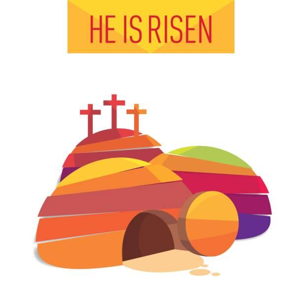 bildbanksillustrationer, clip art samt tecknat material och ikoner med påsk uppståndelsen cave jesus stigit gratulationen vykort - grav