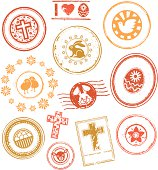 Collection of grunge rubber stamps and seals on Easter theme.