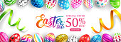 """Easter Sale """"50% off"""" banner background template with Colorful Painted Easter Eggs and ribbon.Easter eggs with different texture on white background.Vector illustration EPS10"""